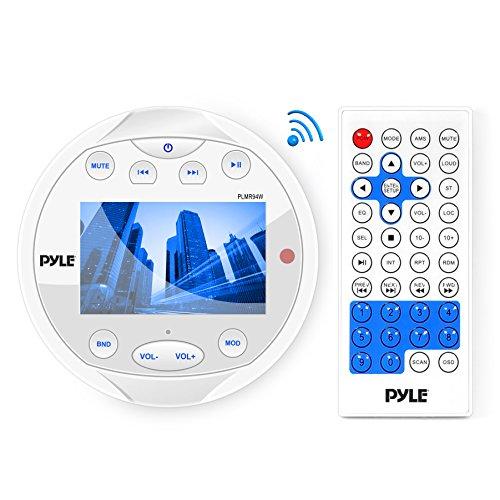 Pyle Hydra Marine Wasserdicht Bluetooth Stereo Empfänger Digital USB/MP3/Radio mit AM/FM/AUX Eingang, rund/Kreis - Pyle Hydra-serie Marine