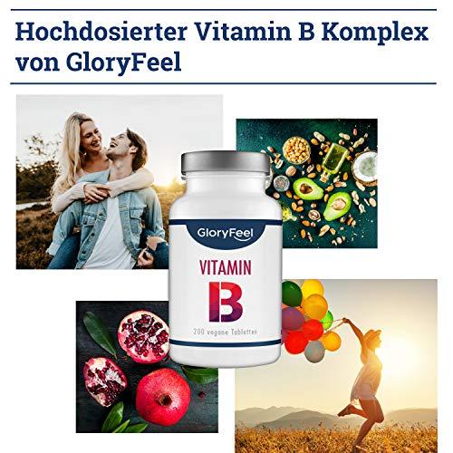 Vitamin B Komplex Hochdosiert 200 Tabletten – Alle 8 B-Vitamine in einer Tablette Ohne Magnesiumstearate – B1 B2 B3 B5 B6 B7 (Biotin) B9 (Folsäure) und B12 – Über 6 Monte Vitamin-B von GloryFeel - 3