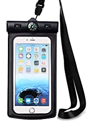 Boussole Étui étanche avec brassard et dragonne, vemico universel téléphone portable Dry Sac Pochette pour iPhone 7/6/6S Plus/5/5S/5C Galaxy bord S7/S7/S6/S5/Note 3/4Jusqu'à 14cm Diagonale
