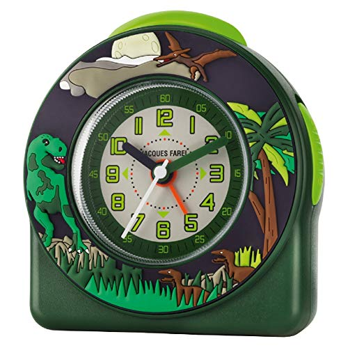 JACQUES FAREL Kinder-Wecker Jungen 3D T-Rex Dino grün ohne Ticken Snooze Analog Quarz ACW 44