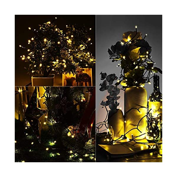 Mpow 200 LED Fairy Lights 8 Modes Solar Powered String Lights, 72ft  Fairy Starry Lights IP65 Waterproof Festival Lights for Party Wedding Garden Christmas Tree Decoration (Warm Light) 7
