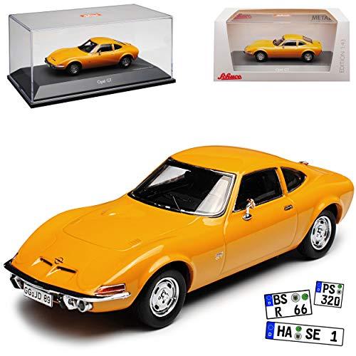 Schuco Opel GT Coupe Orange Braun 1968-1973 1/43 Modell Auto mit individiuellem Wunschkennzeichen