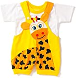 Miss U Baby Boys cotton Dungaree set (Yellow, 6-12 Months)