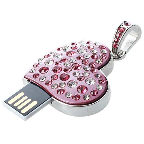 USB-Stick - SODIAL(R) 16 GB USB 2.0 aufblitzend Strass Herz-Stil Flash-Speicher-Laufwerk Flash-Laufwerk USB-Stick - rosa
