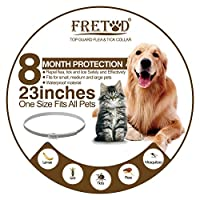"""FRETOD Flea and Tick Collars for Dogs Cats - 8 Month Protection -Adjustable 23"""" Length fits for Small Medium Large Pets"""