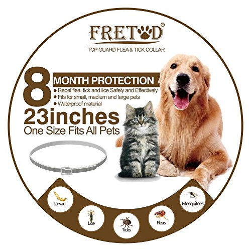 "FRETOD Flea and Tick Collars for Dogs Cats – 8 Month Protection –Adjustable 23"" Length fits for Small Medium Large Pets"