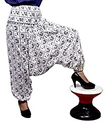 Cotton Elephant Print Genie Harem Pants Boho Gypsy Trousers Free Size (White)