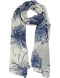 Chrysanthemum Floral Design Scarf in White & Blue Ladies Fashion Scarves
