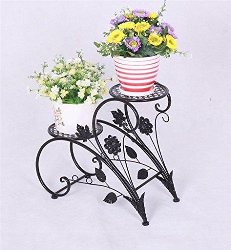JAZS® Porte-fleurs en fer, style européen rural Double couche Style de sol Porte-pot à fleurs salon intérieur balcon Porte-plaques 45 × 20 × 42cm protection de l'environnement raffinée ( Couleur : Noir )