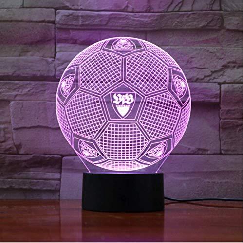 QHQ 3D Bundesliga Fußball Team Vfb Illusion Led Nachtlicht Jungen Kinder Baby Geschenke Fußball Tischlampe Nachttisch