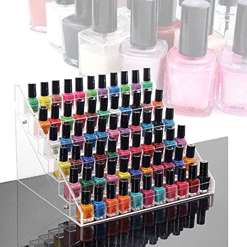 Vernis à ongles Stockage ZJchao support acrylique Peut contenir jusqu'à 65 Vernis à ongles vente au détail Affichage Cosmétique Maquillage support de rangement