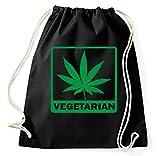 Vegetarier Vegeterarian Weed Kiffer Turnbeutel Sportbeutel Jutebeutel Rucksack Spruch Sprüche Hipster Design, schwarz