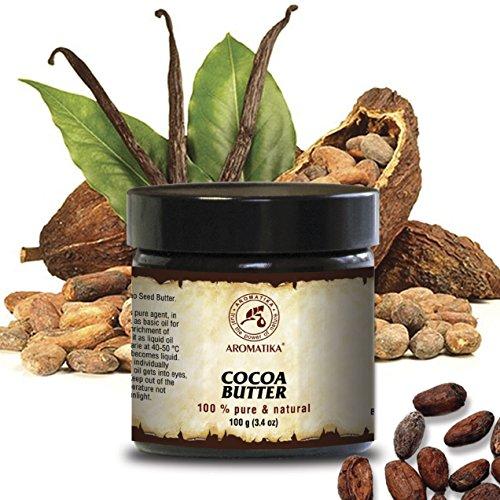 Cocoa Butter - Kakao butter Unraffiniert - Native Rein und Natürlich 100g Glas - Südafrika, Kakaobutter für Lippenpflege, Stretch Marks,...