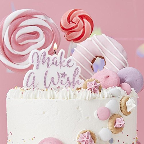 """Ginger Ray """"Make A Wish"""": """"Make A Wish""""-Kerze, Pink glitzernd"""