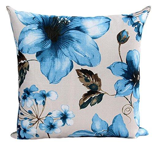Kissenbezug Zierkissenbezüge Leinen 45x 45cm Hevoiok Sofa Auto Bett Dekoratives Kissenhülle mit Blumen Muster Taille Kissen Abdeckung Kissenüberzug (Blau)
