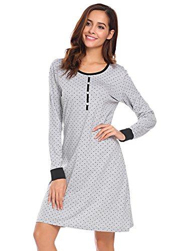 Baumwoll-nachthemd (Damen langarm Nachthemd Baumwolle Sleepshirt nachtkleid Knielang Gerade NachtwäscheGrau 8726, Gr. M(EU38-40))