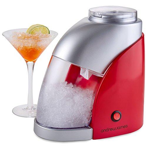 Andrew James Ice Crusher | Eiskrusher | Eiszerkleinerer zum Zerkleinern von Eiswürfeln für Cocktails Smoothies und Slushies | Abnehmbarer Transparenter 600ml Eisbehälter | Eisschaufel | Durchsichtiger Deckel | 55 Watt (Rot & Silber)