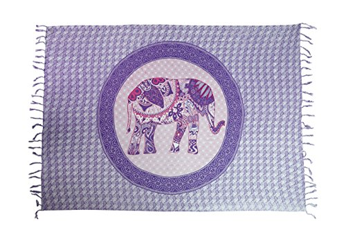 Sarong Pareo Wickelrock Strandtuch Tuch Schal Wickelkleid Strandkleid Blickdicht Ibiza - Elefant Paisley Lila Mandala (Paisley Sari)
