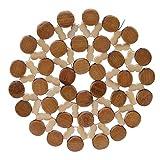DeliV Tischsets Runder Bambus Tischset Hohle Isolierung Schreibtisch Tischsets Cup Untersetzer, S