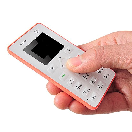Minitelefon,YULAND Karte Handy 4,5 mm ultradünne Tasche Mini Phone M5 Wecker (Orange)