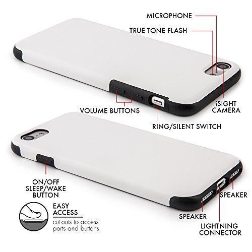"""Case pour iPhone 7 Plus (5,5"""") Coque fine ajustée similicuir PU �?Étui PU similicuir pour Apple iPhone 7 Plus, coque protection avec revêtement «soft feel» blanc de QUADOCTA® - Protection idéale pou Weiß"""