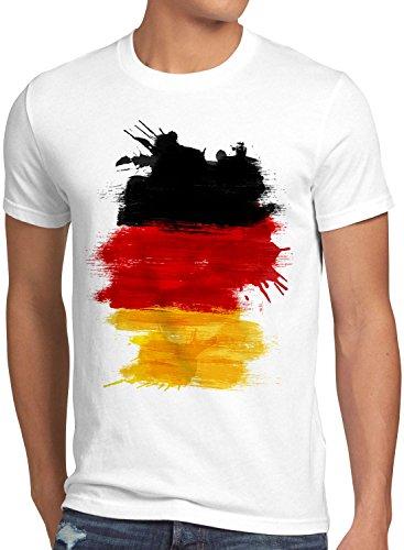 CottonCloud Flagge Deutschland Herren T-Shirt Fußball Sport Germany WM EM Fahne, Größe:L, Farbe:Weiß -