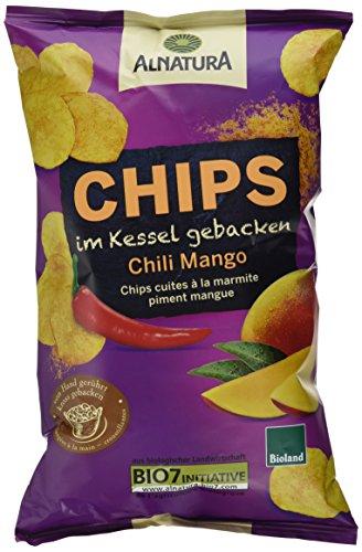 Alnatura Bio Chips im Kessel gebacken Chili-Mango, vegan, 5er Pack (5 x 125 g) (Chips Gebacken)