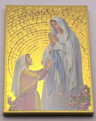 Lourdes Apparition Placca da parete mosaico +