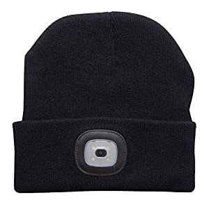 51clA%2BkPHsL. SS300  - EBILUN LED Knit Cap, Unisex Fashion Winter Warmer 4LED Knitted Hat Rechargeable Handsfree Flashlight Cap for Outdoor…