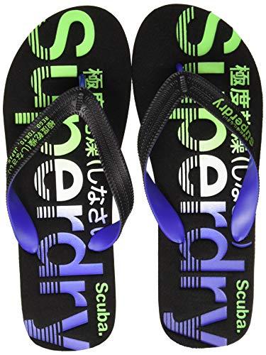 Superdry Scuba Faded Logo Flip Flop, Infradito Uomo, Multicolore (Black/Cobalt/Fluro Green W2w), 42-43 EU