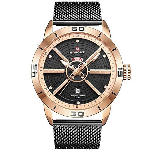 Smartwatches,Quartz Mesh Gürtel Mode Herren Kalender Individuelle Trend Sportuhr MEI Gold Shell Schwarz Netzgürtel -