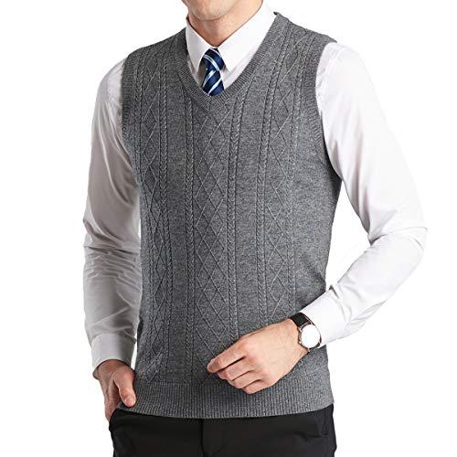 YinQ Herren West Ärmellose Pullunder Strickweste V-Ausschnitt Einfarbig Wollweste für Männer (XL, Grau)