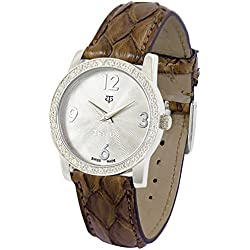 Tellus - Vintage - Luxury Women's watch with silver dial, brown strap in Genuine python, Swiss Made - T5068DI-119