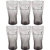 Coca Cola–Set 6Gläser Becher Coca Cola contour Relief 3D Retro Vintage Smoke Schwarz 25cl
