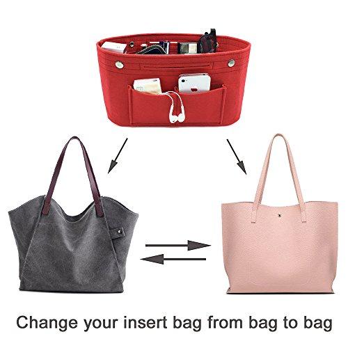 Donne Borsa Organizer Pouch Bag Cosmetico Organizzatore Inserisci Viaggi Cosmetic Tasca Rosso