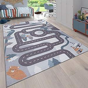 Paco Home Kinder-Teppich, Spiel-Teppich Für Kinderzimmer Straßen-Motiv Mit Tieren Creme, Grösse:100×200 cm