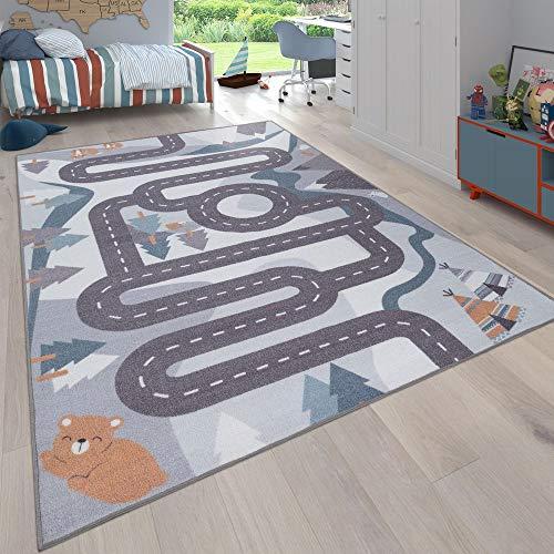 Paco Home Kinder-Teppich, Spiel-Teppich Für Kinderzimmer Straßen-Motiv Mit Tieren Creme, Grösse:140x200 cm