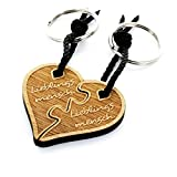 Lieblingsmensch Partnerset aus Holz - geteiltes Herz Puzzle Schlüsselanhänger, 12 cm, Braun