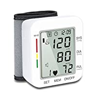 Aecera Wrist Blood Pressure Monitor Automatic Pulse Meter,BP Monitor with Digital Electronic LCD Screen,BP Cuff for Detecting Irregular Heartbeat Blood Pressure,One Touch Operation for Home Use