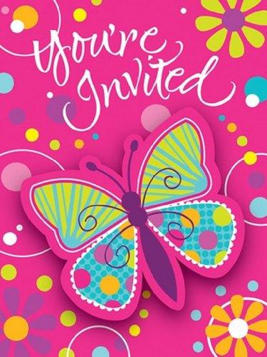 8-count Party Einladungen, Schmetterling Sparkle