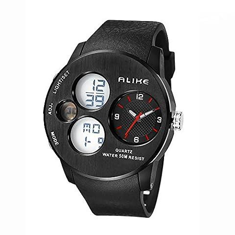 ZUIZU LED Electronic Watch Light Watch Outdoor Sports Waterproof, GMT two, 24 Hour Instructions, Alarm, Calendar, Luminous , D