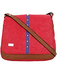 K London Small Casual Artificial Leather Sling Bag For Women & Girls (Red,Brown)(1306_RED)