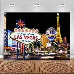 EdCott 7x5ft Décoration de fête de fête Décors Bienvenue à Las Vegas Toile de Fond Casino City Night Scenery À thème Fond Vinyle Bannière Bannière Studio de Photographie
