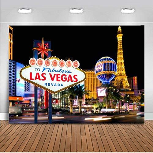 EdCott 7x5ft Geburtstagsparty Dekoration Kulissen Willkommen in Las Vegas Hintergrund Casino Stadt Nacht Landschaft Themen Hintergrund Vinyl Billboard Banner Fotografie Studio (Thema Casino Geburtstag)
