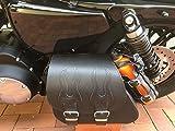 Sporty Flame Black Harley Davidson Sportster - Bolsa para sillín Izquierdo y Derecho, Color Negro