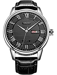 SONGDU Mens Formal Roman Numeral Casual Wrist Watch With Black Leather Strap