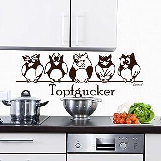 Sunnywall Wandtattoo Topfgucker Eulen Vögel Kochen Küche Essen Wandsticker Braun Gr3