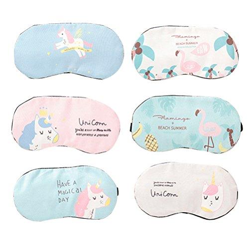 STOBOK 6 Stücke Cartoon Schlafmaske Augenmaske Augenbinde Gummiband Eyeshade für Mädchen Frauen