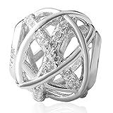 Authentic Hoobeads Galaxy-Ciondolo in argento Sterling 925 con zircone cubico trasparente, adatto per braccialetti Pandora e Argento, colore: argento, cod. HB