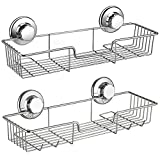 SANNO Shower Caddy,Strong Suction Cup Bathroom Shower Caddies,Bath Shelf Storage Combo Organizer Basket, Kitchen & Bathroom Accessories Shampoo Conditioner - Rustproof Stainless Steel(Set of 2)